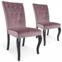 "Lot de 2 Chaises Design Velours ""Lucky"" 106cm Rose"