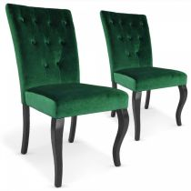 "Lot de 2 Chaises Design Velours ""Lucky"" 106cm Vert"