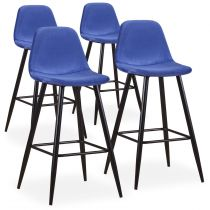 "Lot de 4 Chaises de Bar Velours ""Yan"" 100cm Bleu"