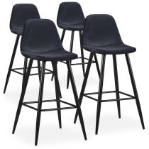 "Lot de 4 Chaises de Bar Velours ""Yan"" 100cm Noir"