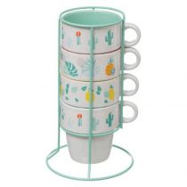 "Lot de 4 Mugs sur Rack ""Rio"" 8cm Multicolore"