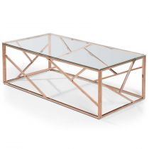 "Table Basse Design Zita"" 120cm Or Rose"