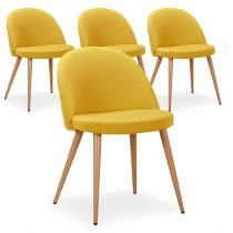 "Lot de 4 Chaises Design ""Morro"" 75cm Jaune"