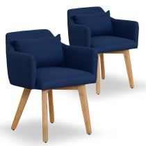 "Lot de 2 Fauteuils Scandinave ""Alan"" 70cm Bleu"