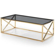 "Table Basse Verre Design ""Gladis"" 120cm Or & Noir"