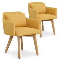 "Lot de 2 Fauteuils Scandinave ""Alan"" 70cm Jaune"