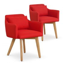 "Lot de 2 Fauteuils Scandinave ""Alan"" 70cm Rouge"