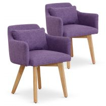 "Lot de 2 Fauteuils Scandinave ""Alan"" 70cm Violet"