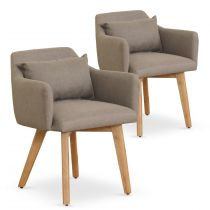 "Lot de 2 Fauteuils Scandinave ""Alan"" 70cm Taupe"