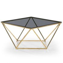 "Table Basse Design en Verre ""Lina"" 80cm Noir & Or"