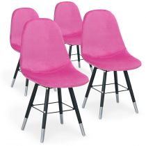 "Lot de 4 Chaises Design Velours ""Audra"" 82cm Rose"