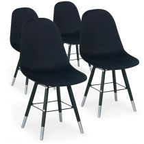 "Lot de 4 Chaises Design Velours ""Audra"" 82cm Noir"