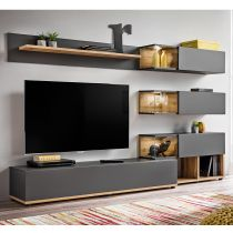 "Meuble TV Design ""Silk"" 240cm Gris & Naturel"