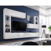 "Meuble TV Mural Design ""Blox I"" 280cm Blanc"