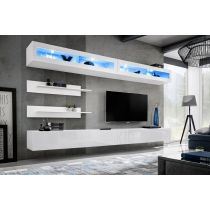 "Meuble TV Mural Design ""Fly VII"" 320cm Blanc"