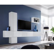 "Meuble TV Mural Design ""Blox VI"" 280cm Blanc"