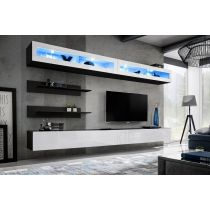 "Meuble TV Mural Design ""Fly VII"" 320cm Blanc & Noir"