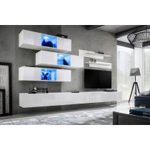"Meuble TV Mural Design ""Fly XIV"" 320cm Blanc"