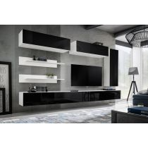 "Meuble TV Mural Design ""Fly XV"" 320cm Noir & Blanc"