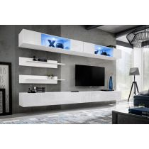 "Meuble TV Mural Design ""Fly VIII"" 320cm Blanc"