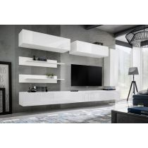 "Meuble TV Mural Design ""Fly XV"" 320cm Blanc"