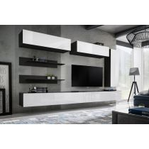 "Meuble TV Mural Design ""Fly XV"" 320cm Blanc & Noir"