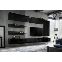 "Meuble TV Mural Design ""Fly XV"" 320cm Noir"
