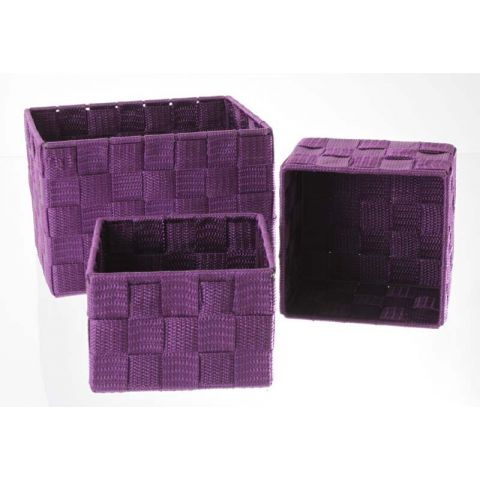 Set de 3 Paniers Rectangulaire Violet