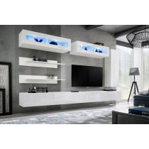 "Meuble TV Mural Design ""Fly XVI"" 320cm Blanc"