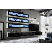 "Meuble TV Mural Design ""Fly X"" 320cm Noir & Blanc"