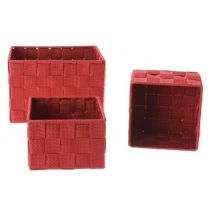 Set de 3 Paniers Rectangulaire Rouge