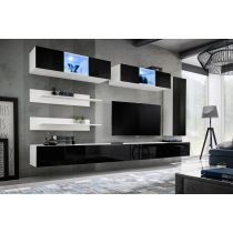 "Meuble TV Mural Design ""Fly XVII"" 320cm Noir & Blanc"