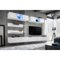 "Meuble TV Mural Design ""Fly XVII"" 320cm Blanc"