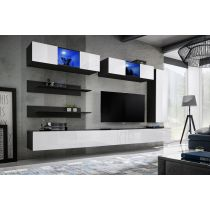 "Meuble TV Mural Design ""Fly XVII"" 320cm Blanc & Noir"