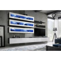 "Meuble TV Mural Design ""Fly X"" 320cm Blanc & Noir"