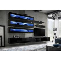 "Meuble TV Mural Design ""Fly X"" 320cm Noir"