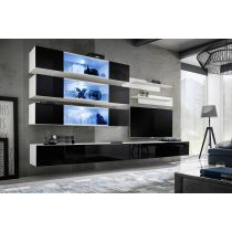 "Meuble TV Mural Design ""Fly XI"" 320cm Noir & Blanc"
