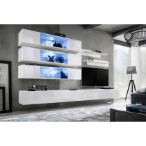 "Meuble TV Mural Design ""Fly XI"" 320cm Blanc"