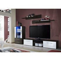 "Meuble TV Design ""Galino VIII"" 250cm Wengé & Porte Blanche"