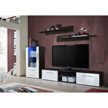 "Meuble TV Design ""Galino VIII"" 250cm Wengé & Blanc"