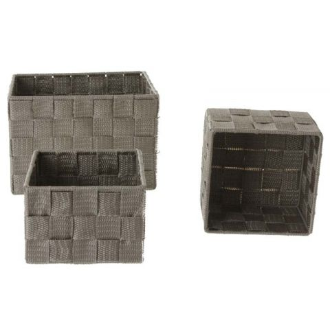 Set de 3 Paniers Rectangulaire Taupe