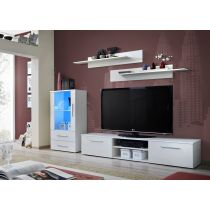 "Meuble TV Design ""Galino VIII"" 250cm Blanc Mat"