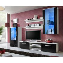 "Ensemble Meuble TV Design ""Galino VIII"" 250cm Blanc & Noir"