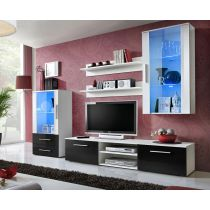 "Ensemble Meuble TV Design ""Galino VIII"" 250cm Blanc & Tiroirs Noirs"