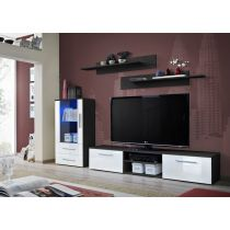 "Meuble TV Design ""Galino VIII"" 250cm Noir & Blanc"