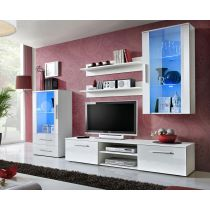 "Ensemble Meuble TV Design ""Galino VIII"" 250cm Blanc Brillant"