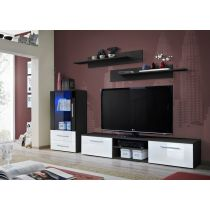 "Meuble TV Design ""Galino VIII"" 250cm Noir & Tiroirs Blancs"