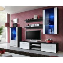 "Meuble TV Design ""Galino X"" 250cm Noir & Blanc"