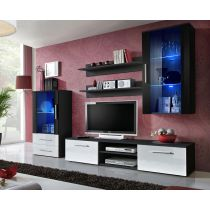 "Meuble TV Design ""Galino X"" 250cm Noir & Tiroirs Blancs"