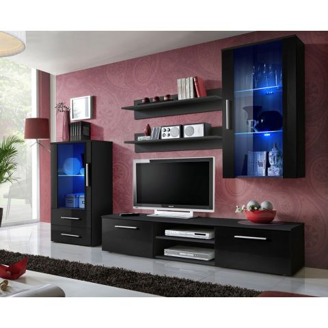 "Ensemble Meuble TV Design ""Galino VIII"" 250cm Noir"